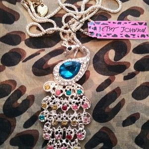 Jewelry - Betsey Johnson Crystal Peacock Necklace